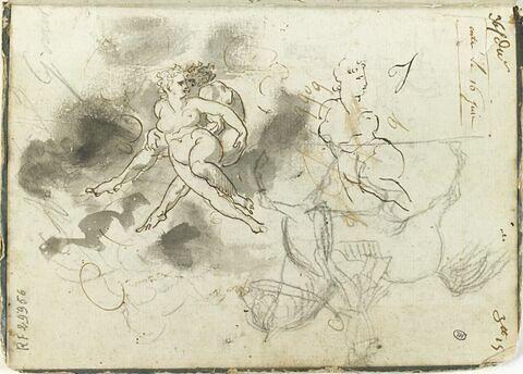 Un couple enlacé, reprise de la figure féminine ; esquisse d'un cavalier et d'un cheval cabré ; annotations