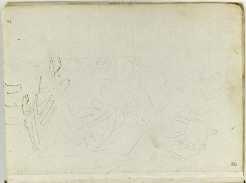 Étude pour une composition avec des figures égyptiennes : 'Joseph reconnu par ses frères' ? ; esquisse de deux autres figures