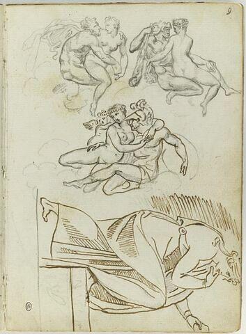 Trois groupes de figures nues enlacées : Héra et Ixion ; Hercule et Iole ; Mars,Vénus et Cupidon ; Naason