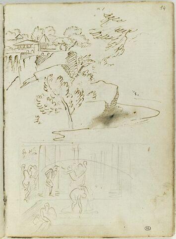 Paysage rocheux avec des architectures classiques dans le fond ; 'La Piscine de Béthesda'
