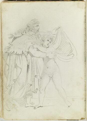 Vieil homme protégeant un enfant nu sous un drapé