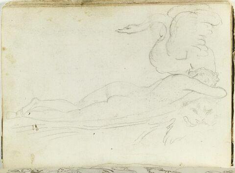 Figure nue, allongée, dormant sur une peau de panthère, avec un cygne perché sur son épaule gauche