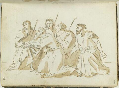 Cinq hommes drapés, agenouillés, tournés vers la gauche