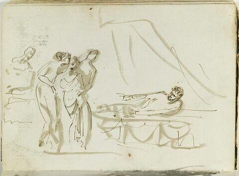 Femme drapée, soutenue par deux figures, face à un homme à demi allongé