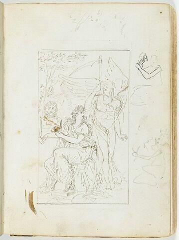 Composition allégorique : 'Le Temps et la Sculpture' ? ; deux variantes de la figure féminine et esquisse de son bras droit ; traits en zigzag