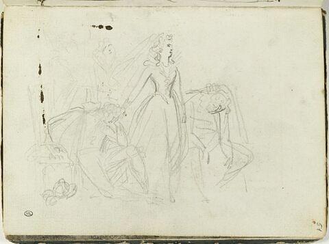 Femme debout entre deux hommes accablés