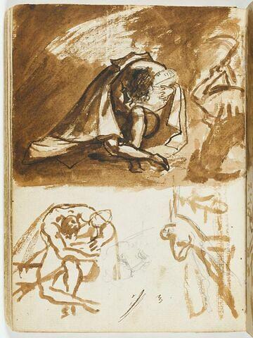 Deux études de figures enlacées ; esquisse d'un personnage de face, le genou gauche à terre, traîné par le bras gauche, et d'une tête masculine