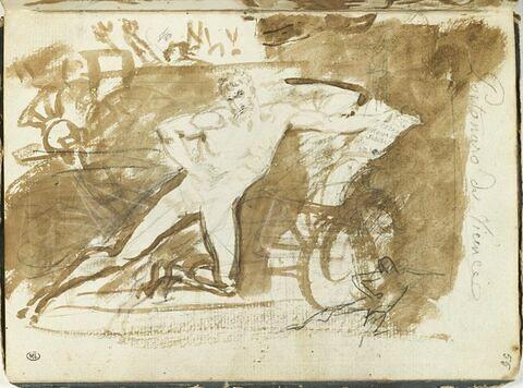 Homme nu, le genou gauche à terre, le bras gauche étendu tenant un cartouche, et reprise de la même figure ; esquisses d'autres figures, d'un profil et d'un casque orné d'un cimier
