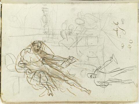 Homme drapé à demi allongé, de trois quarts vers la droite, tenant une épée de la main gauche et un cartouche portant inscription de la droite ; variante debout de cette même figure (?) ; esquisses d'une architecture classique et d'autres figures