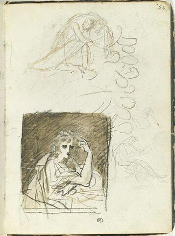 Figure drapée serrant un corps dans ses bras ; ébauche d'une des têtes ; homme de profil, assis, lisant et reprise de son buste ; portrait de femme, en buste, de trois quarts vers la droite
