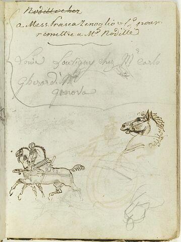 Etudes de chevaux dont certains traînant des chars et esquisse d'une figure ; plusieurs annotations