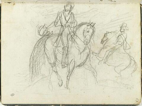 Deux études de cavaliers ; croquis pour 'L'Écusson de la République'