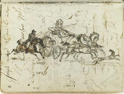 Voiture tirée par deux chevaux suivie par un cavalier et précédée par un chien ; deux esquisses d'une figure ; croquis de palmettes ; profils de têtes caricaturales ; plusieurs annotations et essais de plume