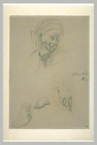 Tête de femme avec un turban , deux études de pieds et une main