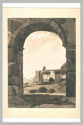 Vue de Rome, au travers d'une arcade du Colisée