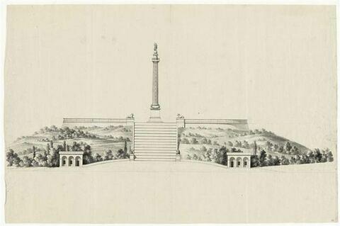 Plan et coupe : projet de colonne monumentale à la mémoire de Napoléon Ier