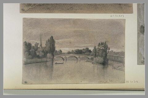 Rivière et pont, flèche d'une cathédrale : 'Sens, 9 7bre'