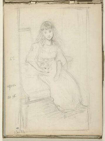 Portrait de fillette assise, vue de trois quarts, tournée vers la droite