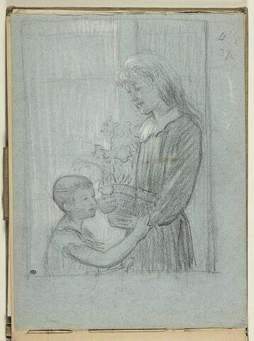 Fillette tenant un pot de fleurs et enfant, vu à mi-corps