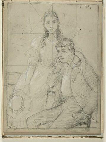 Jeune fille passant son bras gauche autour du cou d'un jeune homme