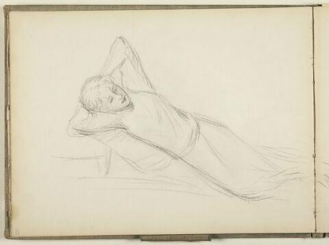 Figure allongée, les bras repliés derrière la tête