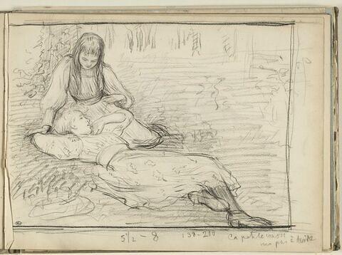 Fillette assise, et fillette allongée sur l'herbe dans un jardin