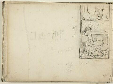 Femme assise au pied d'une cheminée ; croquis ; chiffres mansucrits