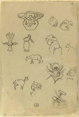 Etudes d'une céramique, de bretonnes, de motifs décoratifs et de moutons