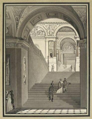 L'escalier Napoléon au Louvre, dit aussi escalier neuf du Musée Napoléon