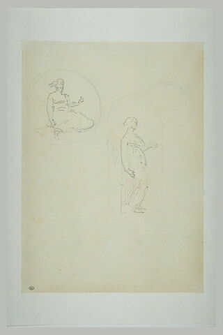 Femme inscrite dans un médaillon ; femme inscrite dans une niche