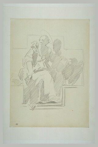 Saint barbu, assis, dans une niche en croix