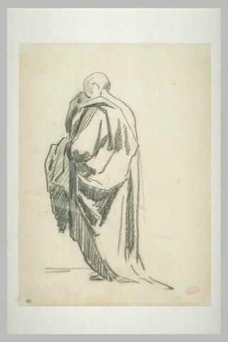 Homme drapé, debout, tourné vers la gauche, vu de dos