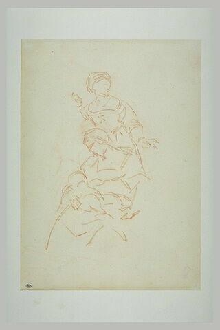 Deux servantes, dont une tenant la Vierge sur ses genoux
