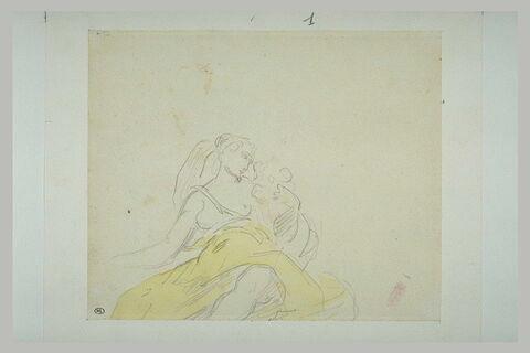 Femme assise, vêtue d'une jupe jaune