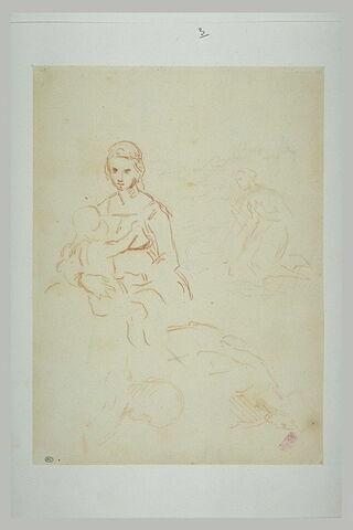 Etudes de Vierge à l'Enfant, d'une femmme agenouillée, de l'archange Gabriel