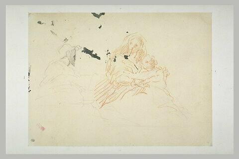 Femme tenant un enfant sur ses genoux, et buste d'homme