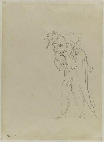 Homme nu, cape sur les épaules, mettant un masque