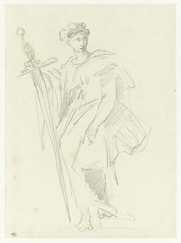 Figure debout, drapée, tenant un immense glaive
