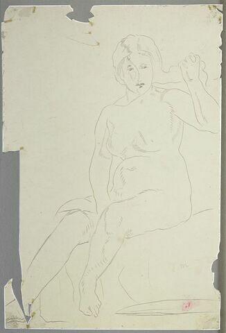 Femme nue, assise, de face