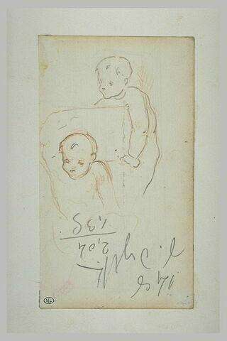Deux enfant nus tenant un cartouche