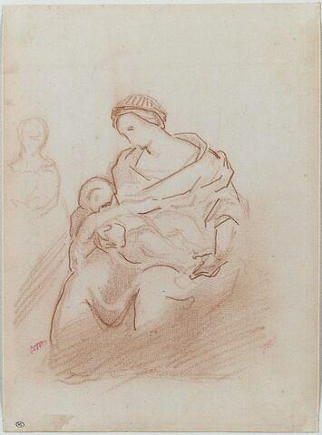 Femme assise avec un enfant