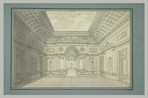 Vue en perspective d'une salle ou d'une galerie