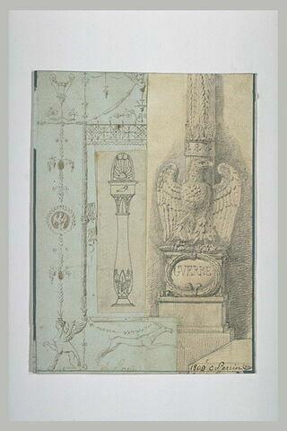 Feuille d'étude : frise décorative, éléments décoratifs, base de colonne