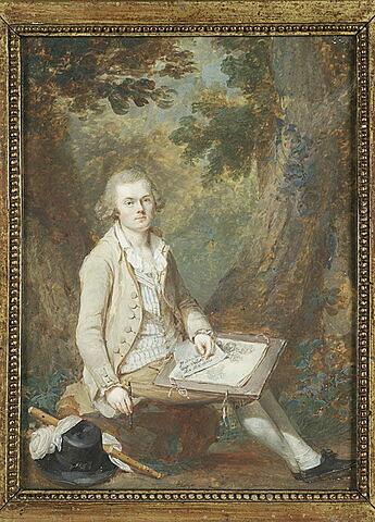 Portrait d'un artiste assis dans un paysage boisé