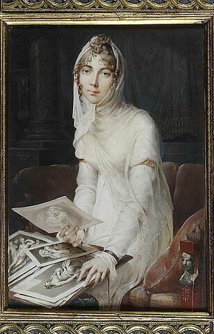Portrait de Marie Victoire Jaquotot, assise sur un divan.