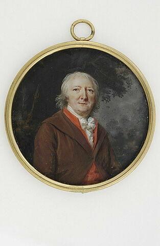Portrait d'homme âgé, en habit marron et gilet rouge