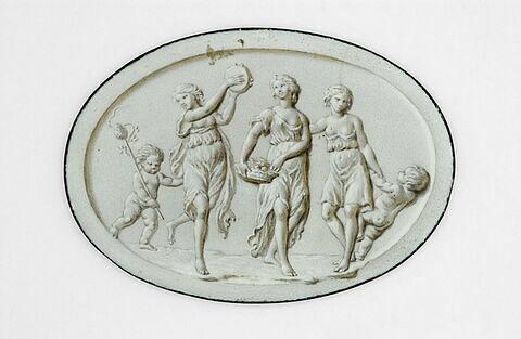 Nymphes dansant et deux enfants nus