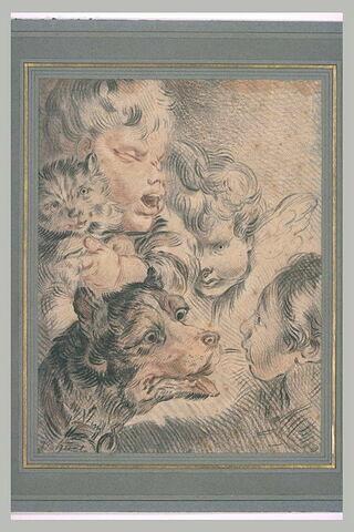 Feuille d'études avec trois têtes d'enfant, un chien et un chat
