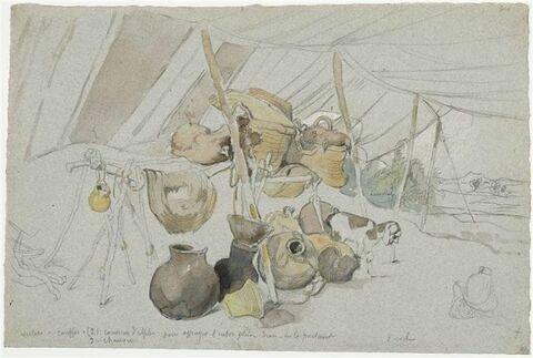 Paysage africain avec une tente abritant divers objets