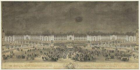 Vue générale de la grande illumination des écuries de Versailles